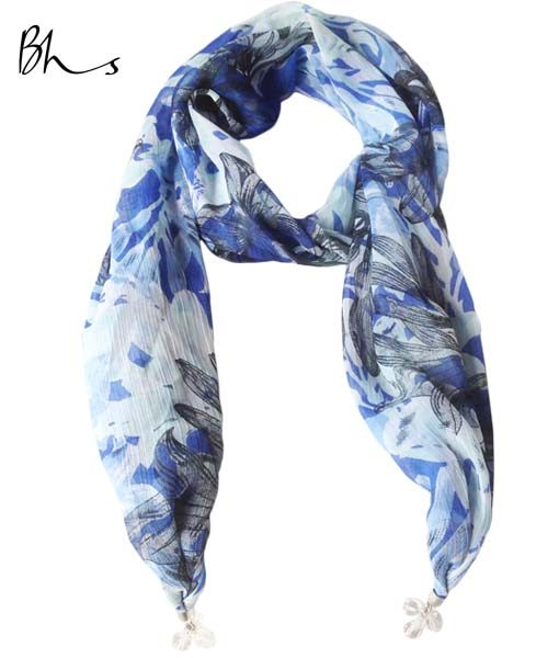 bhs lightweight blue floral jewelled end scarf